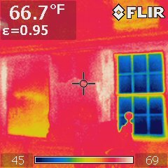 Infrared images taken with FLIR camera showing Interior Storm Windows at Lyman Estate