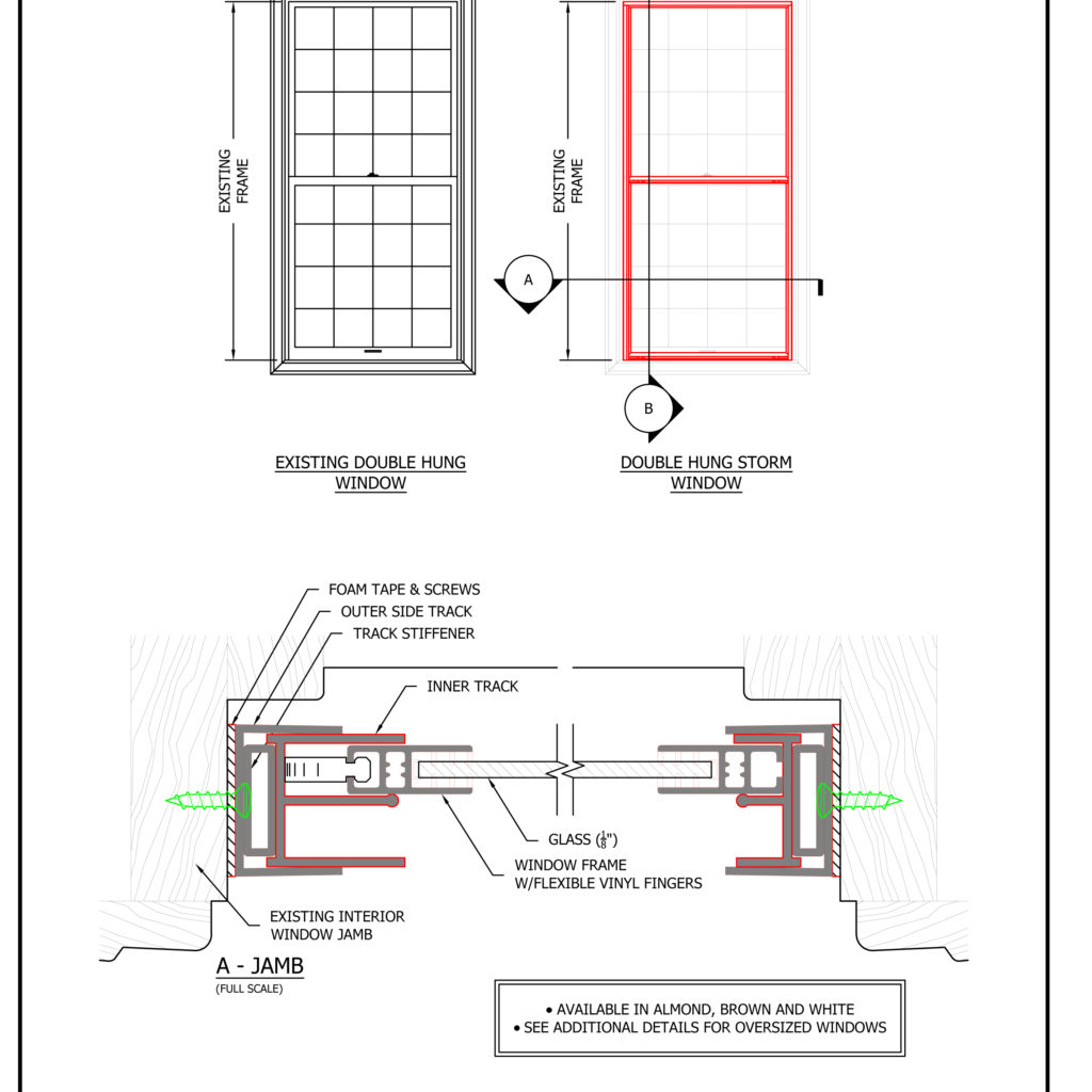 Storm window shop drawings and architectural technical - Interior storm windows for old houses ...